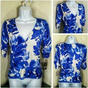 INC Concepts floral caridigan sweater top, sz xs